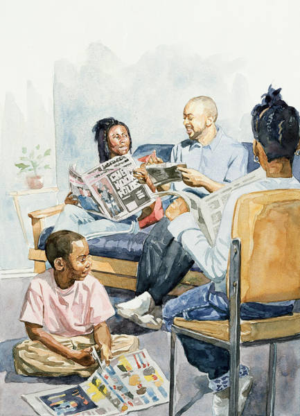 Newspaper Painting - Living Room Serenades by Colin Bootman