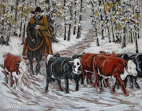 Bergstrom Painting - Living The Dream-rounding Up Yearlings by Susan Bergstrom