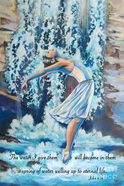 Wall Art - Painting - Living Water Scripture by Tamer and Cindy Elsharouni