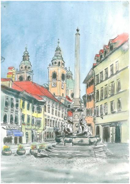 Ljubljana Painting - Ljubljana - Francesco Robba's Fountain by Marko Jezernik
