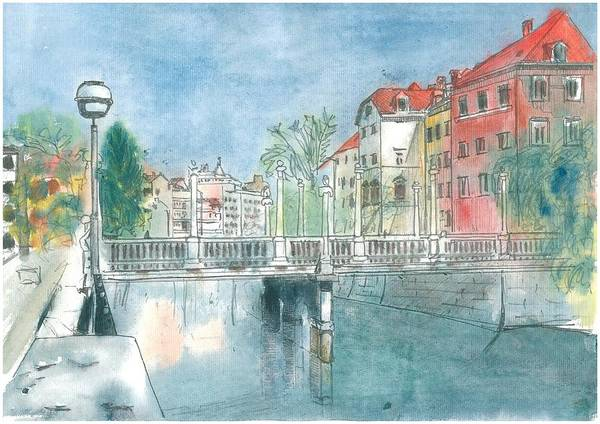 Ljubljana Painting - Ljubljana - Schumakers Bridge by Marko Jezernik