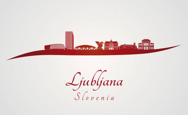 Ljubljana Wall Art - Digital Art - Ljubljana Skyline In Red by Pablo Romero