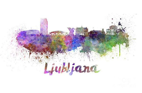 Ljubljana Painting - Ljubljana Skyline In Watercolor by Pablo Romero