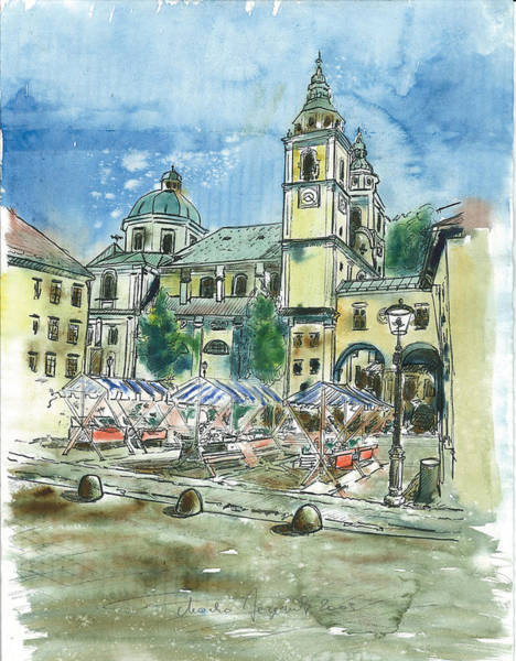 Ljubljana Painting - Ljubljana - The Cathedral by Marko Jezernik