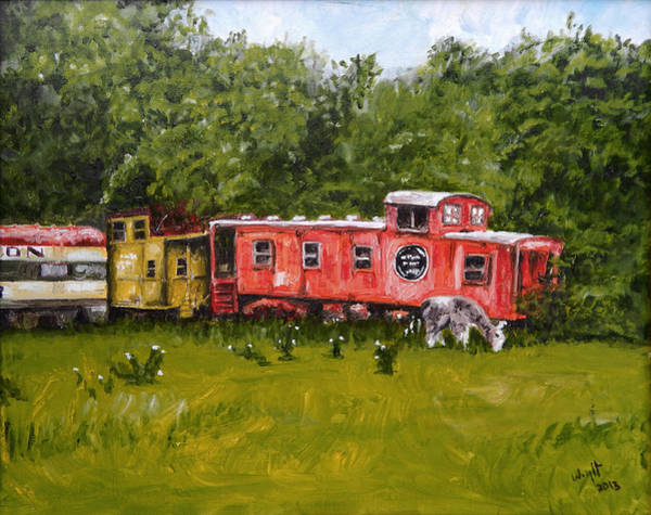 Red Caboose Painting - Llama by Debbie Wright Swisher