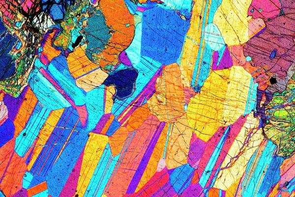 Magma Wall Art - Photograph - Lm Of A Thin Section Of Gabbro Rock by Alfred Pasieka/science Photo Library