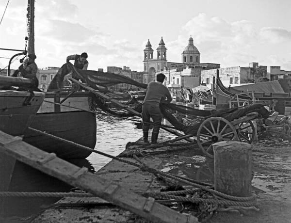Loading Nets In Malta Art Print by David Murphy