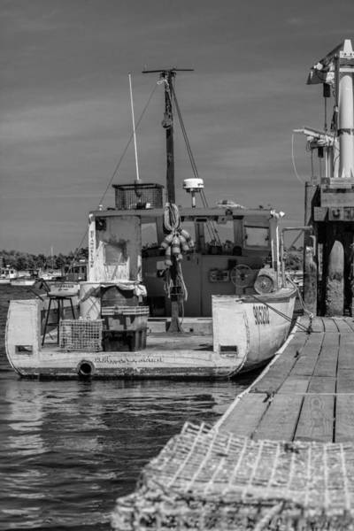 Photograph - Lobster Boat At Dock Black And White by Kirkodd Photography Of New England