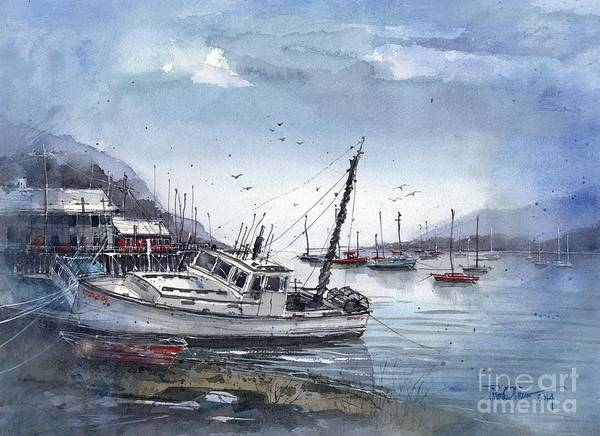 Nova Scotia Painting - Lobster Boat At Low Tide by Tim Oliver