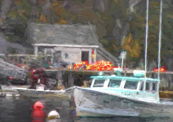 Lobster Photograph - Lobster Boat New Harbor Maine Painterly Effect by Carol Leigh