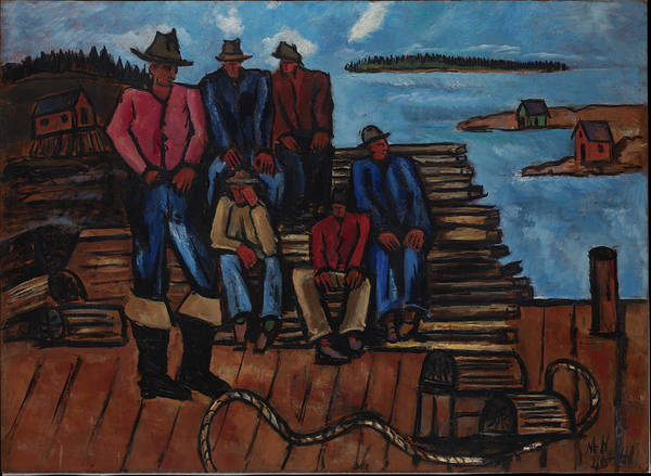 Central America Painting - Lobster Fishermen by Marsden Hartley
