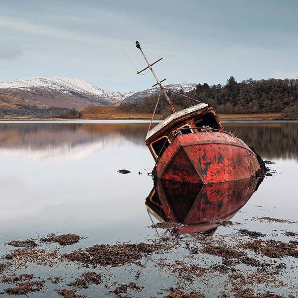 Photograph - Loch Boat Wreck by Grant Glendinning