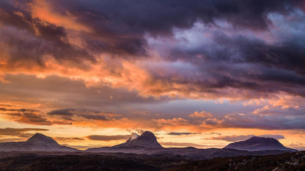Fire In The Sky Wall Art - Photograph - Lochinver Sunrise by Dave Bowman
