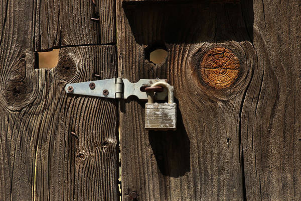Knot Hole Photograph - Locked Gate by Art Block Collections
