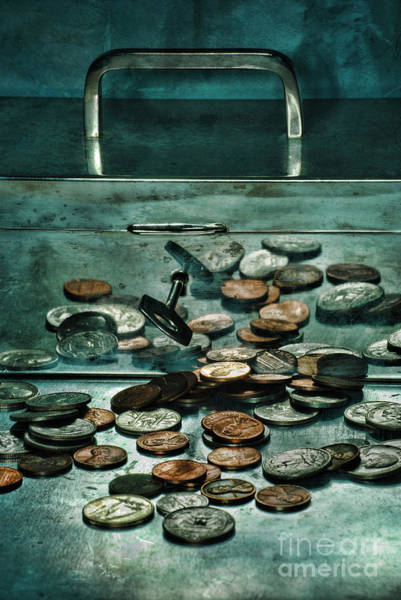 Unopened Wall Art - Photograph - Locked Silver Box With Coins by HD Connelly