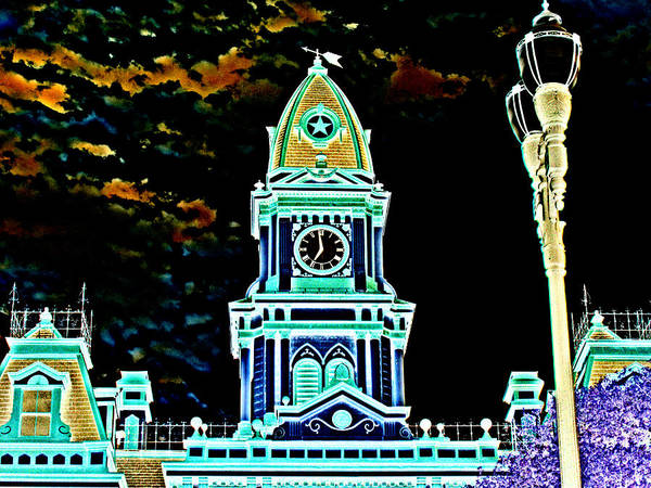 Digital Art - Lockhart Courthouse Clock Tower In Neon by James Granberry