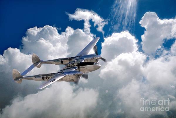 Prop Digital Art - Lockheed P-38 Lightning by Wernher Krutein