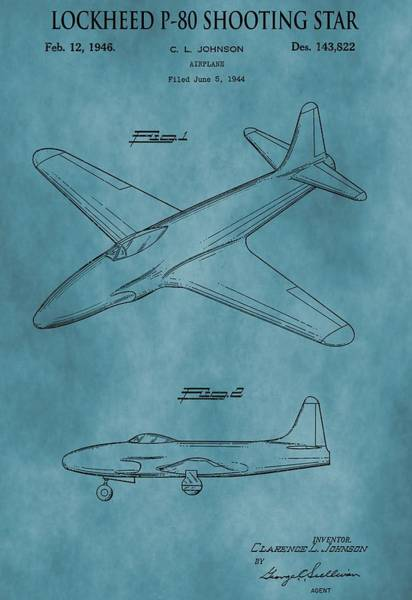 Shooting Mixed Media - Lockheed P-80 Patent Blue by Dan Sproul