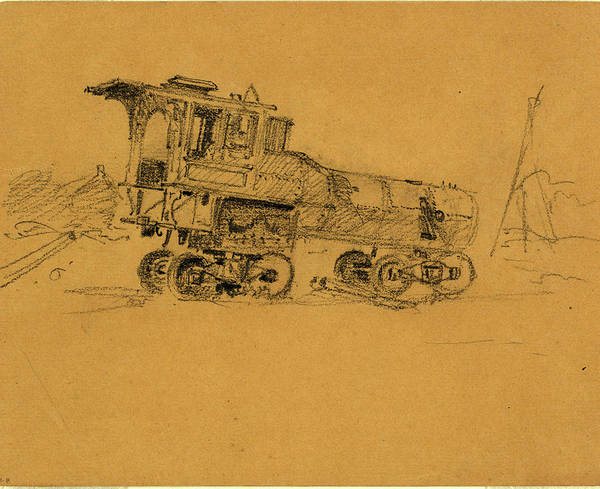 Locomotive Drawing - Locomotive, 1860-1865, Drawing, 1862-1865 by Quint Lox