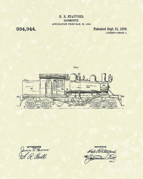 Wall Art - Drawing - Locomotive 1909 Patent Art by Prior Art Design