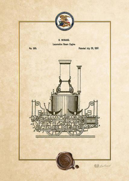 Digital Art - Locomotive Steam Engine Vintage Patent Document by Serge Averbukh