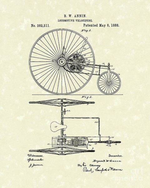 Wall Art - Drawing - Locomotive Velocipede 1888 Patent Art by Prior Art Design