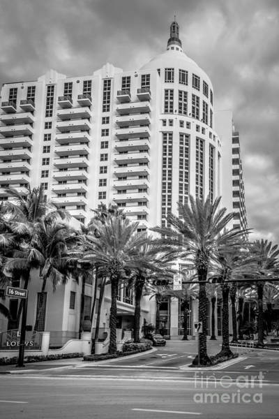 Wall Art - Photograph - Loews Hotel On 16th Miami Beach - Black And White by Ian Monk