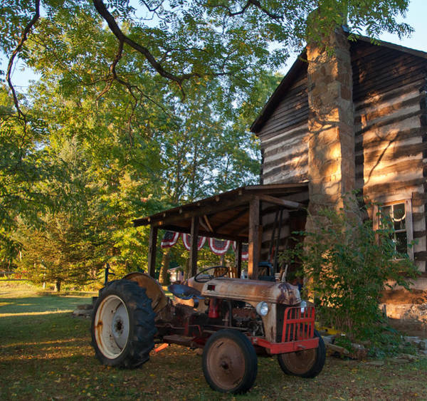 Wall Art - Photograph - Log Cabin And Tractor by Nickaleen Neff