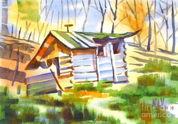 Wall Art - Painting - Log Cabin In The Wilderness by Kip DeVore