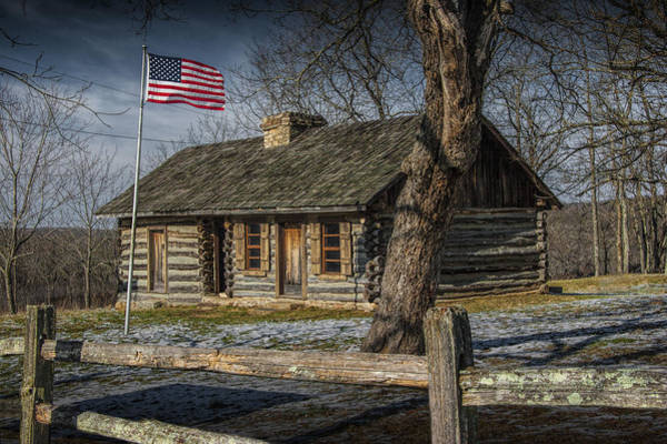 Photograph - Log Cabin Outpost In Missouri With American Flag by Randall Nyhof
