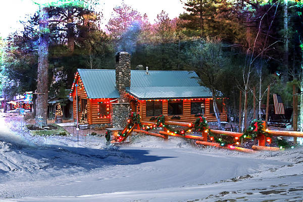 Photograph - Log Home On Mount Charleston With Christmas Decoration by Gunter Nezhoda