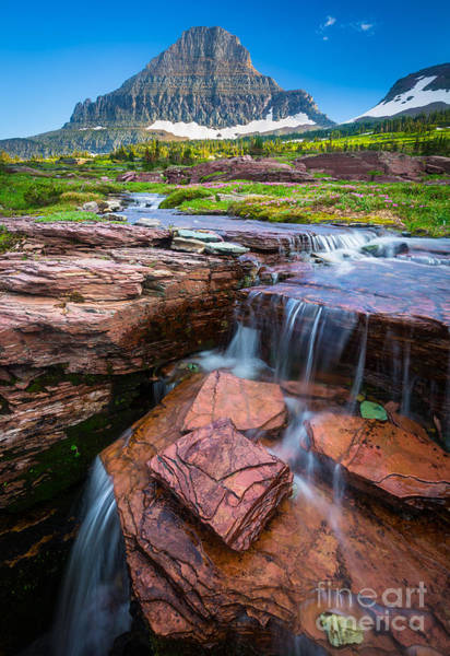 Montana State Photograph - Logan Pass Waterfall by Inge Johnsson