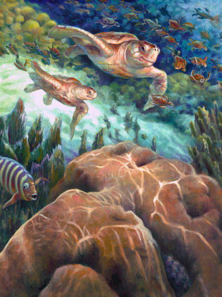 Wall Art - Painting - Loggerhead Sea Journey I by Nancy Tilles