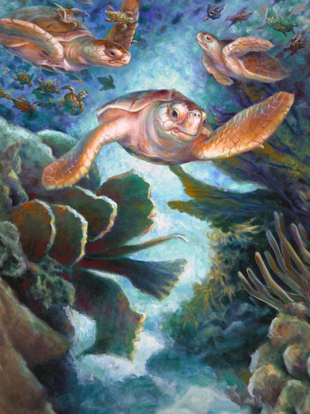 Wall Art - Painting - Loggerhead Sea Journey II by Nancy Tilles