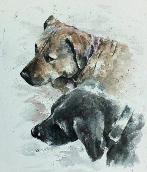 Mutt Painting - Loki And Pandora by Rachel Christine Nowicki