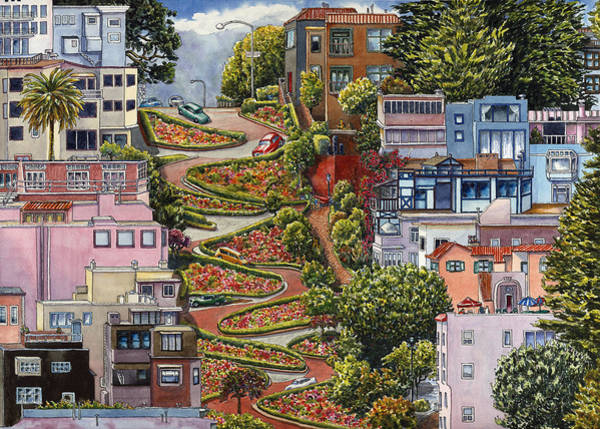 Area Painting - Lombard Street by Karen Wright