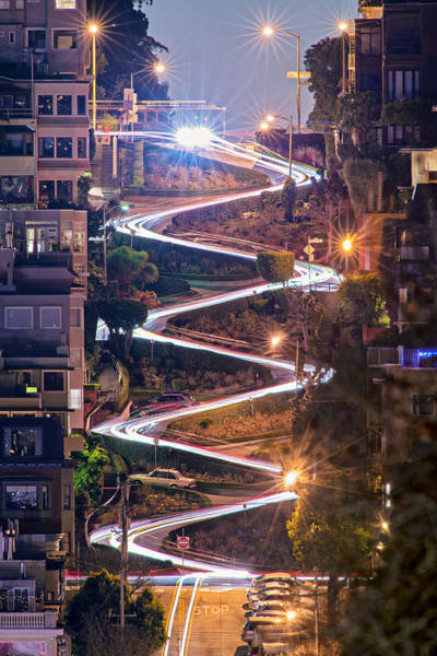 Lombard Street With Cable Car - San Francisco Art Print