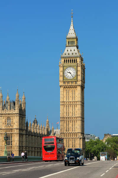 The Clock Tower Photograph - London, Big Ben And Traffic On by Sylvain Sonnet