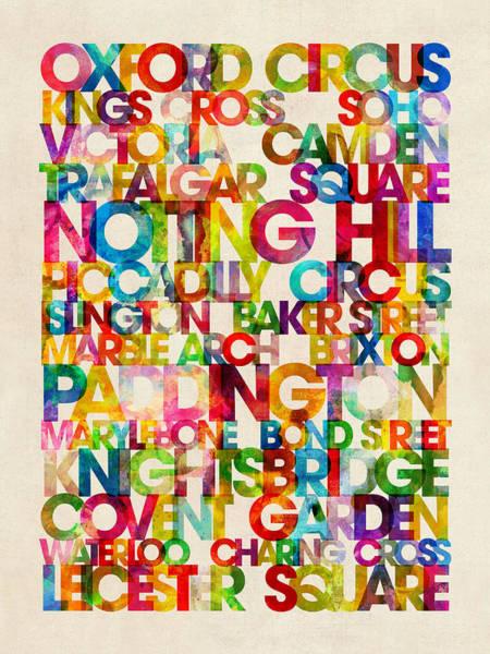 Text Map Digital Art - London Destinations Text Map Art Print by Michael Tompsett