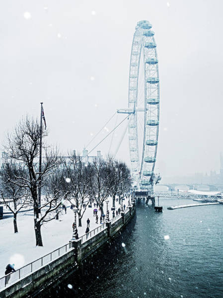 South Bank Photograph - London Eye And Southbank In Snow by Doug Armand