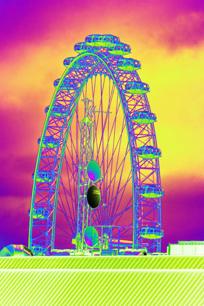 Photograph - London Eye Framing Antennae Psychedelicized by Richard Henne