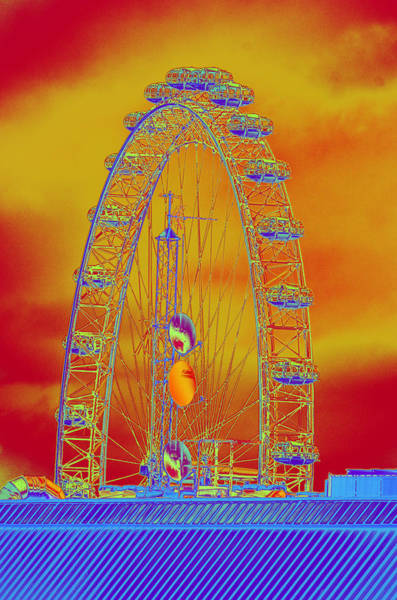 Photograph - London Eye In A Fiery Sky by Richard Henne