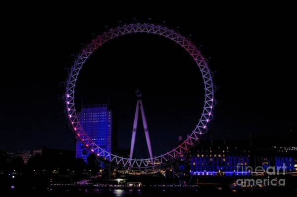 Photograph - London Eye In Red White And Blue by Jeremy Hayden
