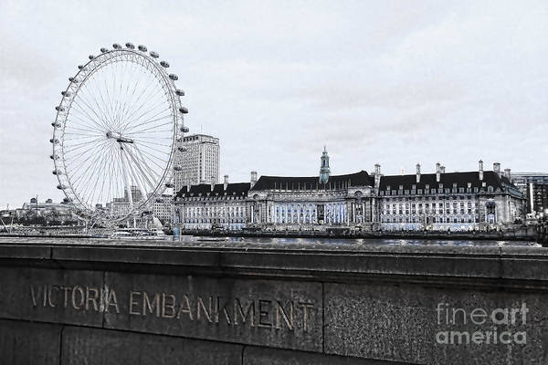 London Eye Photograph - London Eye Mono by Jasna Buncic