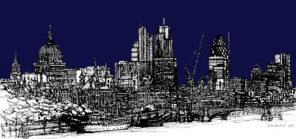 Pen And Ink Mixed Media - Dark Ink With Bright London Roofscape In Navy Blue by Adendorff Design