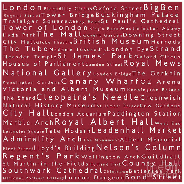 Sabine Photograph - London In Words Red by Sabine Jacobs