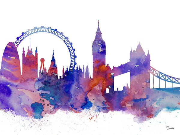 United Kingdom Wall Art - Painting - London by Watercolor Girl