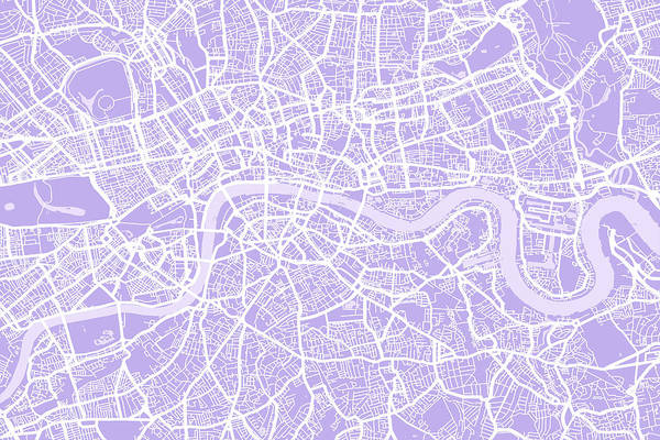 England Digital Art - London Map Lilac by Michael Tompsett