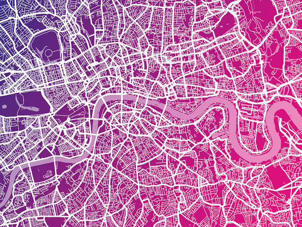 England Digital Art - London Map Red by Michael Tompsett