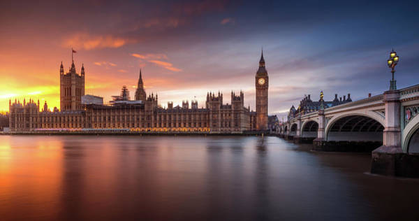Westminster Bridge Photograph - London Palace Of Westminster Sunset by Merakiphotographer